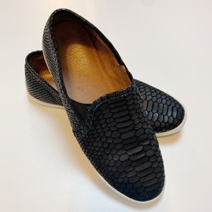 Joie Kidmore Black Croc Embossed Slip On Sneakers